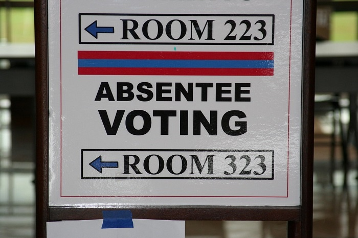 Absentee Voting sign